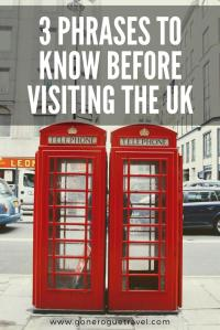 phone booths in London and three phrases to know before visiting the UK wording for Pinterest