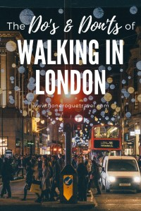 the dos and donts of walking in London pinterest image of people crossing busy street