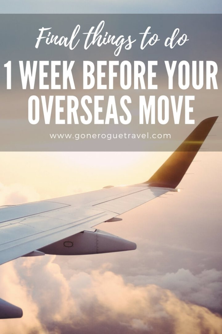 airplane wing overlayed with final things to do before moving overseas words pinterest