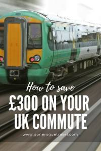"London train and words ""how to save £300 on your UK Commute"""