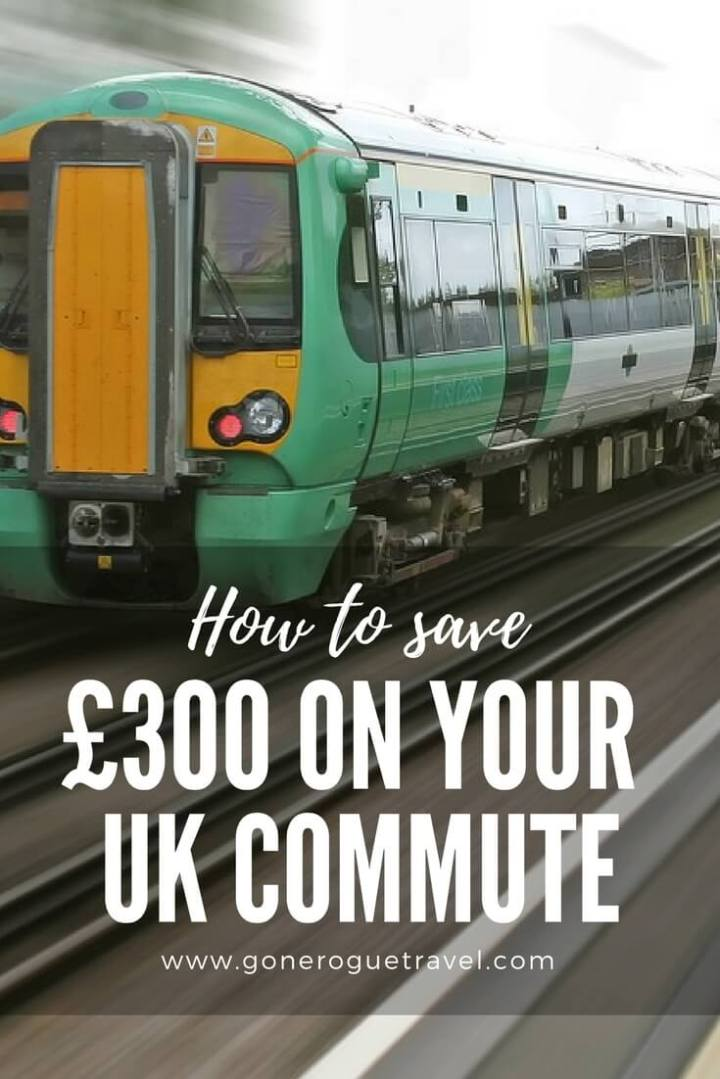 """London train and words """"how to save £300 on your UK Commute"""""""