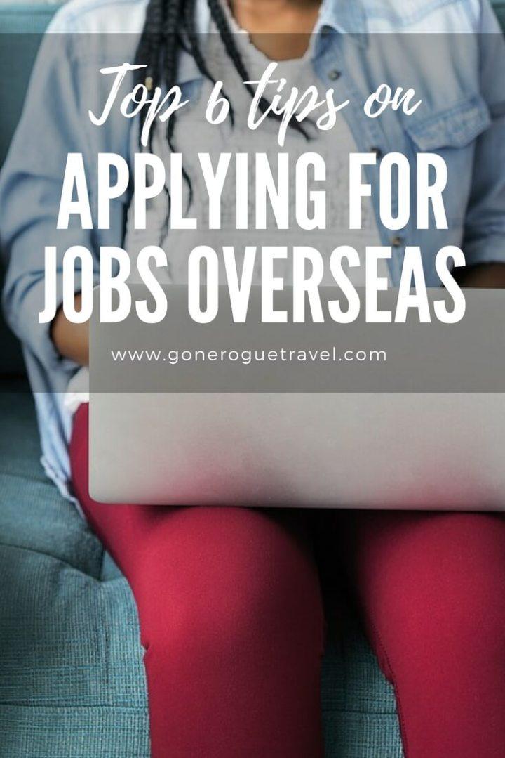 girl on laptop applying for jobs overseas using tips