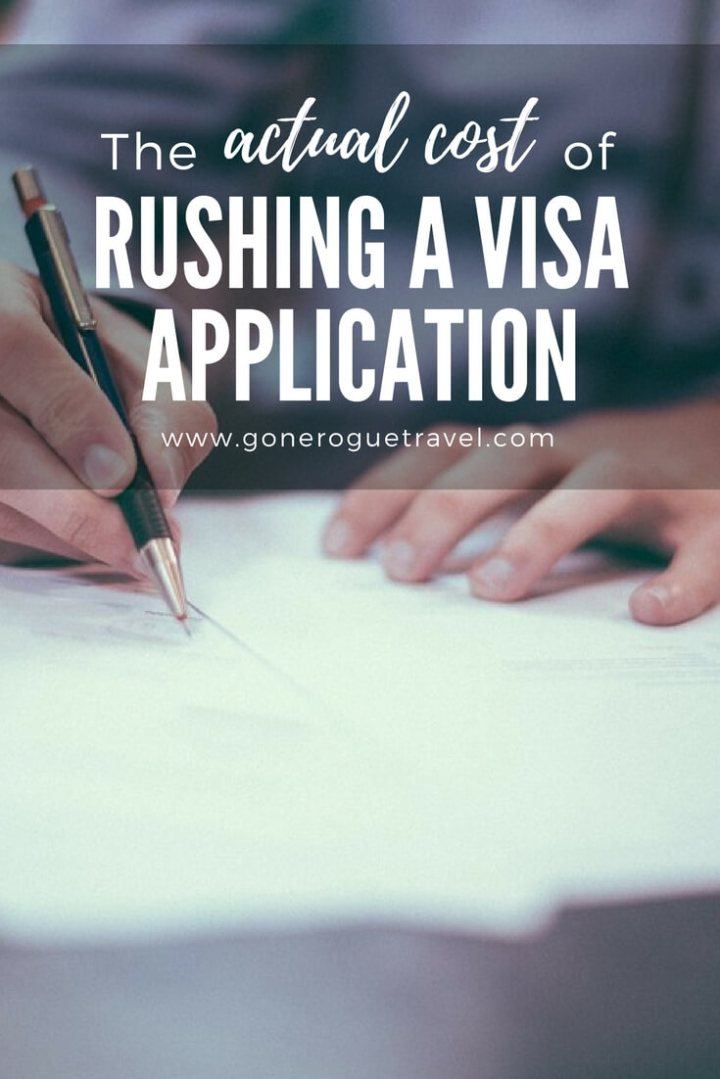 Pinterest image person writing with words actual cost of rushing visa application