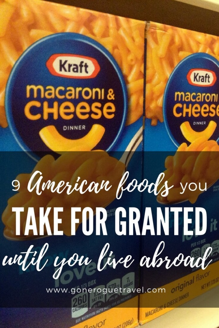 American foods you miss when you move overseas on box of macaroni and cheese pinterest image