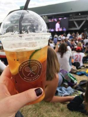 glass of pimms at wimbledon championships on henman hill