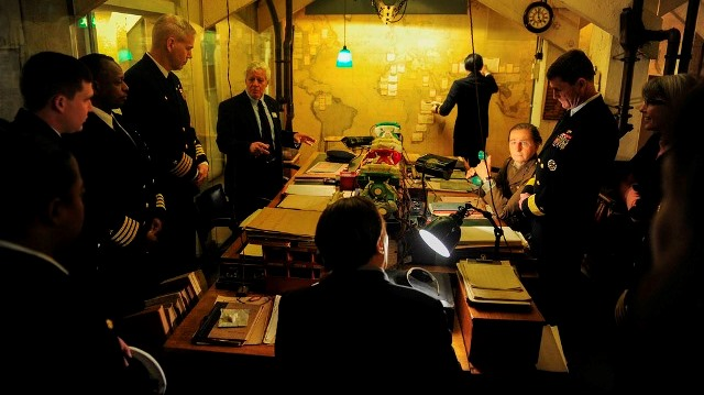 Churchill War Rooms with visitors in map room
