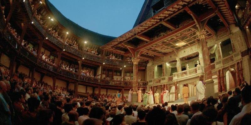 seeing a show at Globe Theatre in evening in London