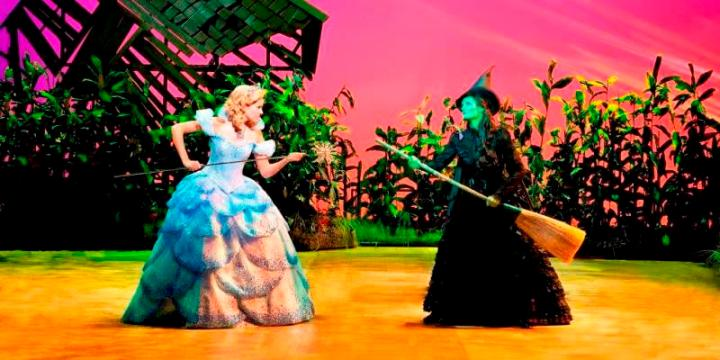 witch and fairy of Wicked on stage in London