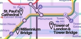 Eastern London sights tube map