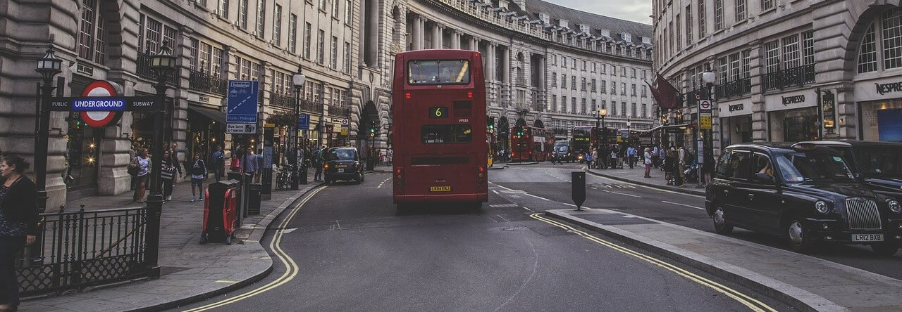Busy London Street With Bus Tube And Taxi