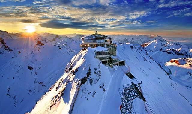 Top of the Schilthorn in the Swiss Alps