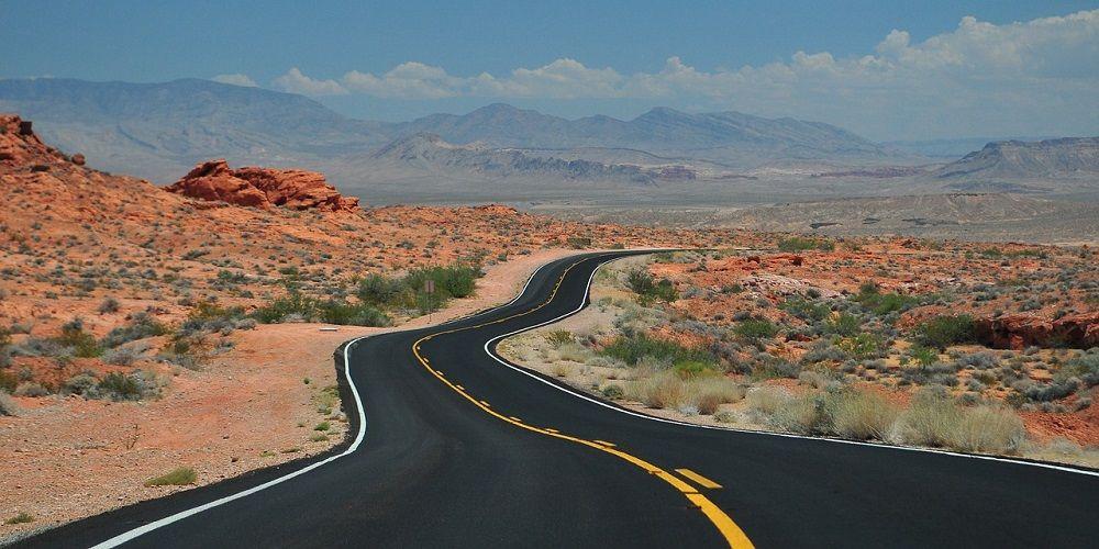USA Road Trip highway through desert